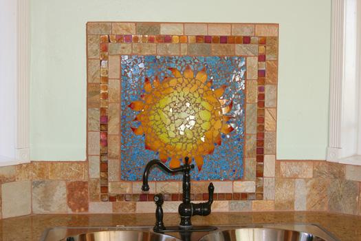Southwestern Sunflower Kitchen Backsplash